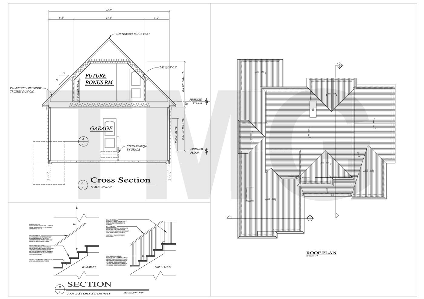 Residential building plan and section view modern house Residential building plan sample