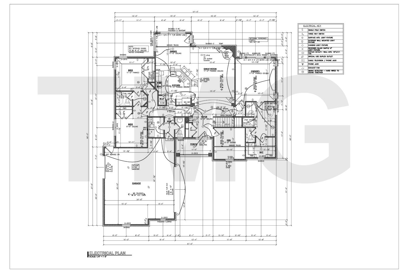 Electrical drawing for permit the wiring diagram for House plan drawing samples